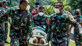 Prajurit TNI AD menggotong tenaga kesehatan (Nakes) korban penyerangan Kelompok Kriminal Bersenjata (KKB) usai dievakuasi menggunakan helikopter milik TNI AD di Lapangan Frans Kaisepo Makodam XVII Cenderawasih, Kota Jayapura, Papua, Jumat (17/09)