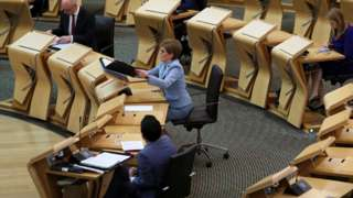 First Minister Nicola Sturgeon attends First Minister's Questions at the Scottish Parliament in Edinburgh, Scotland on May 27, 2021