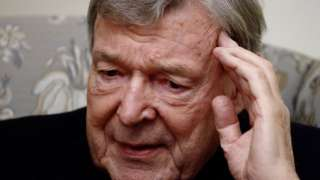 Australian Cardinal George Pell looks on during an interview with Reuters in Rome on 7 December, 2020.