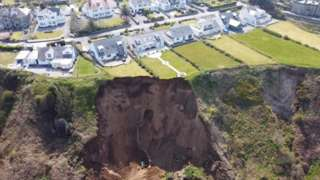 The landslide at Nefyn beach