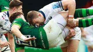 Bristol centre Sam Bedlow tip-tackles London Irish centre Theo Brophy Clews