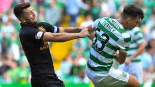 Livingston's Craig Halkett and Celtic's Kieran Tierney