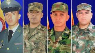 Handout photo by the Colombian army showing the four soldiers who were killed in Caucasia