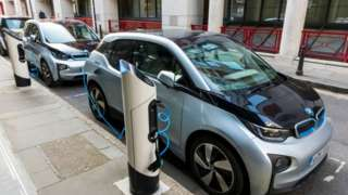 An electric car at a charging point in London