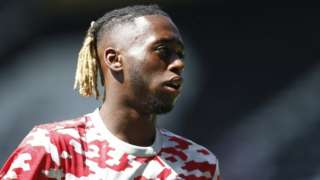"""Manchester United""""s Aaron Wan-Bissaka during the warm up before the match"""