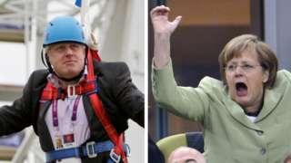 Image shows Boris Johnson and Angela Merkel