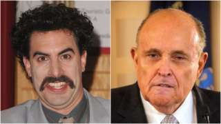 Composite of Borat and Rudy Giuliani - Pictures: Getty Images and Reuters