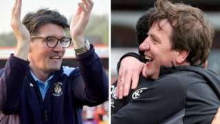 Mick Harford (left) has been in caretaker charge of Luton Town since Nathan Jones left for Stoke on 9 January, while Daniel Stendel took over as Barnsley head coach on 6 June