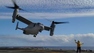 A military aircraft coming in to land
