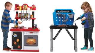 Canadian Tire's catalogue features girls playing with play power tools and boys playing with a play kitchen