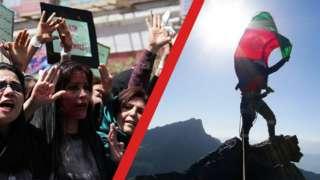 Women protesting, women climber