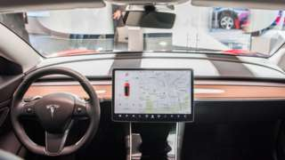The interior of a Tesla Model 3