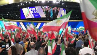 Supporters of the National Council of Resistance of Iran attend a rally in Villepinte, near Paris, France, June 30, 2018