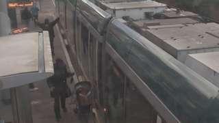 CCTV showing the pushchair in the tram door