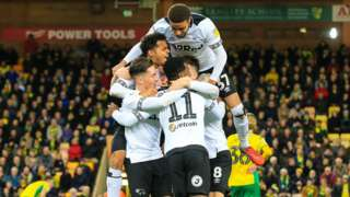 Derby County's players celebrate