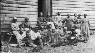 Familia de esclavos en el estado de Virginia (EE.UU.) en 1850.
