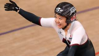 okyo 2020 Olympics - Cycling - Track - Women's Omnium - Points Race - Izu Velodrome, Shizuoka, Japan - August 8, 2021. Yumi Kajihara of Japan celebrates taking silver.
