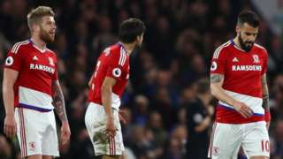 Middlesbrough walk off the pitch against Chelsea after being relegated