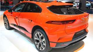 Jaguar I-Pace (I-PACE) battery-electric crossover SUV on display at Brussels Expo on January 9, 2020 in Brussels