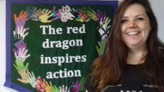 Tasha Middleton, of Sew Swansea, helped make a banner inspired by designs from Greenham Common