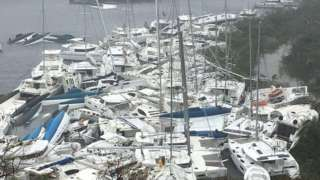 Boats crammed against the shore in Paraquita Bay in the British Virgin Islands