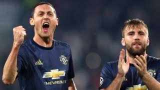Nemanja Matic celebrates with Manchester United team-mate Luke Shaw