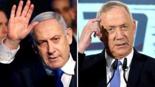 Benjamin Netanyahu (bidix) Benny Gantz (midig) waxay ku heshiin waayeen awood qaybsigii