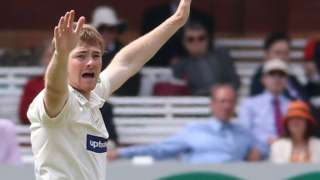 Leicestershire bowler Tom Taylor appeals for a wicket at Lord's