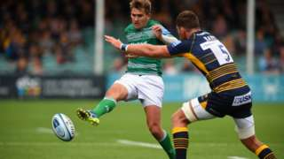 Newcastle fly-half Toby Flood puts in a grubber kick