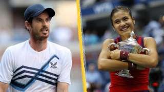 Split image of Andy Murray and Emma Raducanu