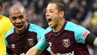 Javier Hernandez celebrates scoring for West Ham