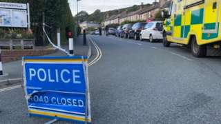 Ambulance and police road block in Lowtherville Road