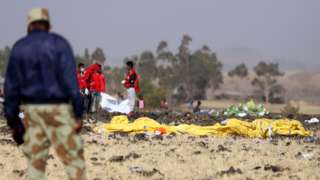 Members of the search and rescue mission look for dead bodies of passengers at the scene of the Ethiopian Airlines Flight ET 302 plane crash