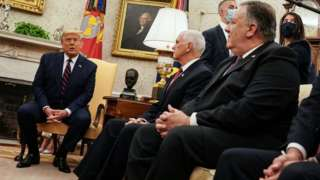 File photo showing US President Donald Trump speaking during a meeting with Vice-President Mike Pence (C) and Secretary of State Mike Pompeo (R) in the Oval Office (20 August 2020)