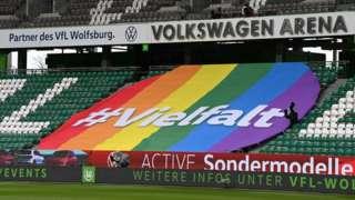 """VW ad saying """"diversity"""" at VfL Wolfsburg stadium, 13 Mar 21"""