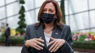 U.S. Vice President Kamala Harris takes questions from reporters as she visits the Flower Dome at Gardens by the Bay, following her foreign policy speech, in Singapore August 24, 2021