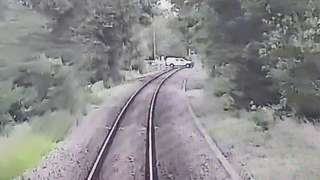 CCTV pictures from the Greater Anglia train showed a vehicle crossing the track a short distance ahead