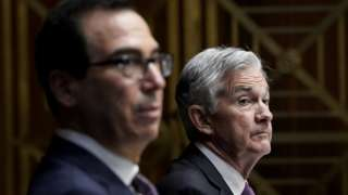 US Treasury Secretary Steven Mnuchin (L) and Federal Reserve Board Chairman Jerome Powell