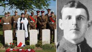 Soldiers at graveside of Cpl Robert Owen Davies (inset)