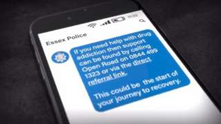 A graphic showing an example of the type of text message being sent to possible drug addicts by police