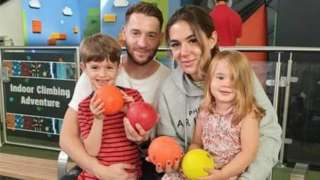 Michael Murray with partner Jade Parkins and children Ethan and Lana