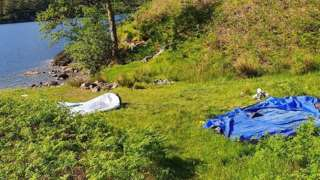 Abandoned tents at Loch Arkaig in Lochaber