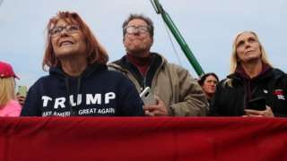 Trump supporters at an election rally in New Hampshire