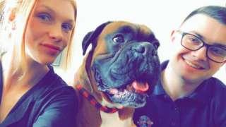AJ and Kieran with AJ's dog