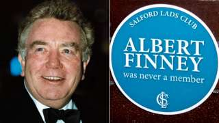 Composite of Albert Finney and plaque