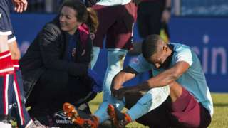 Hearts midfielder Arnaud Djoum suffers a snapped Achilles against Ross County