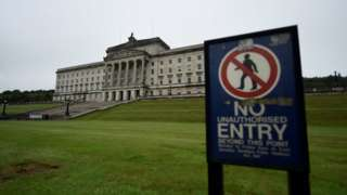 A general view shows Parliament Buildings at Stormont in Belfast