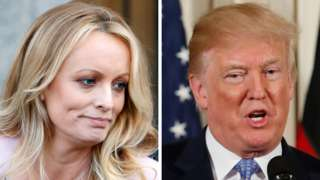 Stephanie Clifford, also known as Stormy Daniels, and US President Donald Trump, 30 April 2018