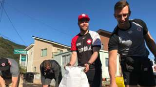 Canada rugby players help with recovery efforts in Kamaishi, Japan after it is hit by Typhoon Hagibis