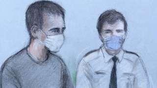 Court artist sketch of Thomas Schreiber